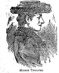 A courtroom sketch of Frances or 'Minnie' Thwaites, from the Cootamundra Herald, 25 November 1893. Courtesy Trove.