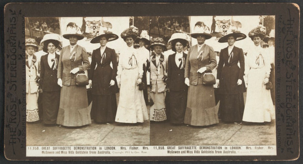 A suffragette demonstration in London, c.1890-1900, featuring Australian Vida Goldstein. Courtesy State Library Victoria, ID H42581/51.