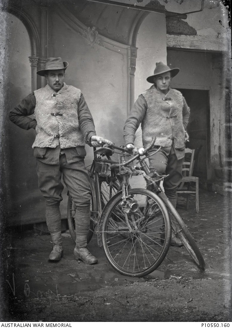 Portrait of two members of the 1st ANZAC Corps Cyclist Battalion, 1916. Courtesy AWM, ID P10550.160.