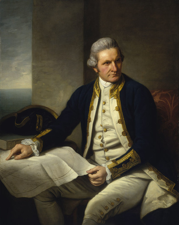 Portrait of Captain James Cook by Sir Nathaniel Dance-Holland, c.1775. Courtesy Wikimedia Commons and National Maritime Museum, Greenwich.