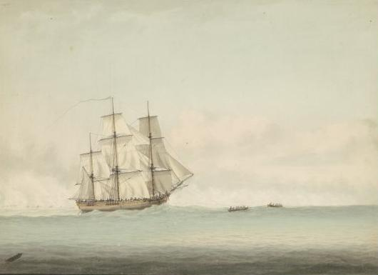 HMS Endeavour off the coast of New Holland by Samuel Atkins, c.1794. Courtesy Wikimedia Commons and National Library of Australia.