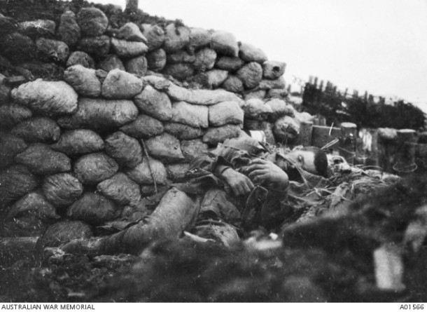 The body of an Australian soldier killed in the German second line, c.19-20 July 1916. The photograph was taken on the morning of 20 July after the Germans had re-occupied their trenches. Courtesy AWM.