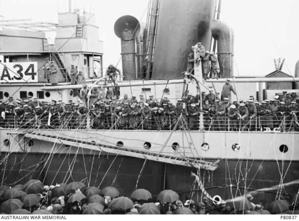 Members of the 37th Battalion lining the rails of the HMAT Persic prior to her departure for England. Courtesy AWM, ID PB0837.