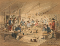 McLaren's boxing saloon, Main Road, Ballarat, 1854 by artist ST Gill. Courtesy National Library of Australia.