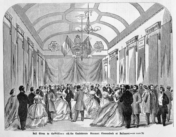 A lavish ball given to the Confederate officers in Ballarat. Courtesy SLVIC, ID IMP25/05/65/68.