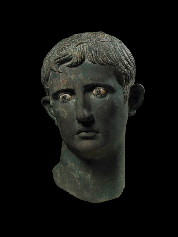 Head of the Roman emperor Augustus, originally attached to a bronze statue. Coins and statues were the primary means the emperors used to spread their images. From c.27–25 BC and discovered in Meroë, Sudan. All images courtesy Trustees of the British Museum.
