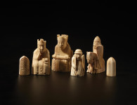 The Lewis chessmen, made of elaborately worked walrus ivory and whales' teeth, c.1150–1175 AD. They were found on the Isle of Lewis, Scotland, but probably made in Norway.