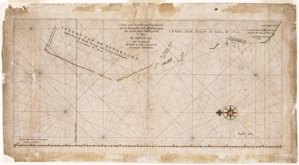 "Hessel Gerritszoon's 1627 map of the north west coast of Australia. The title is ""Caert van't Landt van d'Eendracht"" which translates as ""Chart of the Land of Eendracht"", named as such because that part of the coast was first charted by Dirk Hartog in the Eendracht in 1616. Courtesy National Library of Australia and Wikimedia Commons."