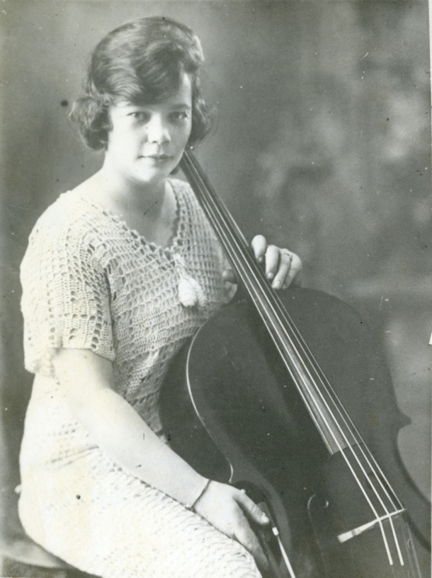 Marjorie Bowman as a young cellist in 1915. Courtesy Ted Witham.