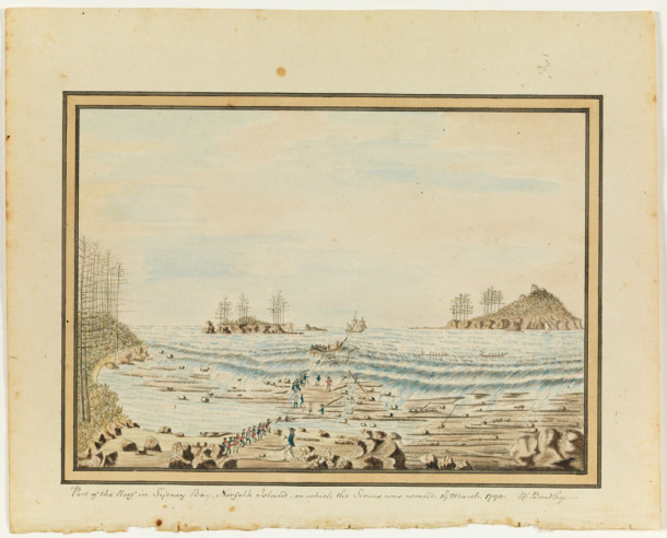 'Part of the Reef in Sydney Bay, Norfolk Island, on which the Sirius was wreck's', by William Bradley, 19 March 1790. Courtesy State Library of NSW.