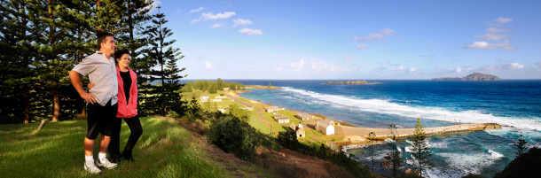 Overlooking some of Kingston's historic buildings. Courtesy Norfolk Island Travel Centre.