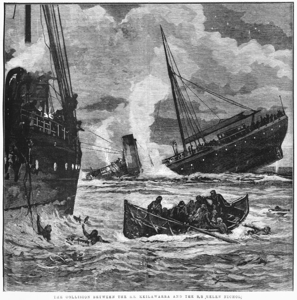 The Collision between the SS Keilawarra and the SS Helen Nicholl, 1886. Courtesy State Library of Victoria.