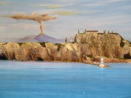 What's a Pompeii diorama without a Vesuvius? Note the lighthouse and breakwater. Misenum Bay was a submerged volcanic crater and ideally shaped for a defensible harbour.