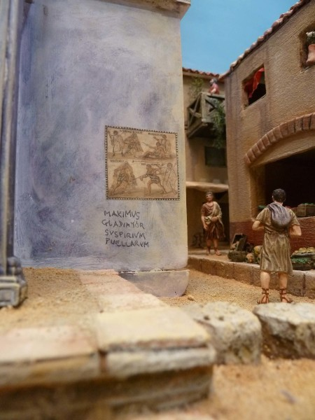 A Maximus Crowe moment in out diorama for the observant Latin scholar. Roman city walls were alive with graffiti - political, satirical and outright bawdy. This is more of a personal tribute.