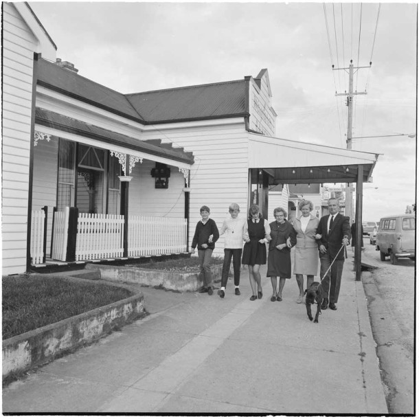 Dutch migrants John and Nieski Hoogenhout with Nieske's mother, Mrs C Besselink, and children, from left, Eddy, 11, John, 13 and Ineke, 16, in Sheffield, Tasmania. Courtesy NAA: A12111, 1/1970/16/319