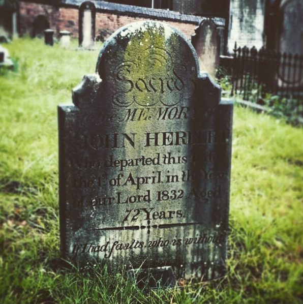 The headstone of John Herbert, one of the many First Fleeters buried here. Courtesy Penny Edwell and Friends of St John's Cemetery.