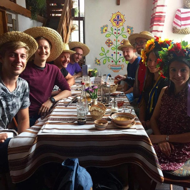 The tour group donning traditional Ukrainian headdress.