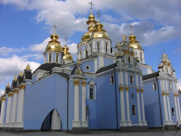 The beautiful St. Michael's Cathedral, Kiev. All images courtesy Elisa and Anna Jakymin.