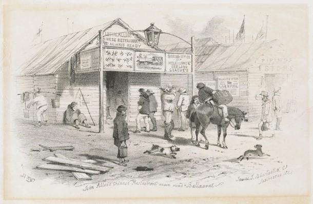 John Alloo's Chinese Restaurant, Main Road Ballarat, 1855, Melbourne, James J. Blundell & Co. Courtesy SLV, ID H94.83/1.