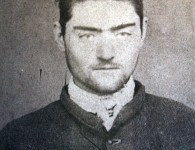Mugshot of Kelly taken at Pentridge after his transfer from the Beechworth Gaol in 1873. Courtesy NMA and Wikimedia Commons.
