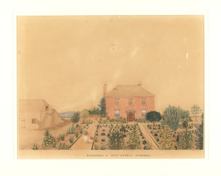 A painting of Prosperous House: Residence of Mr Ky. Murray, Evandale by C.H.T. Costatini, c.1853. Digital image courtesy of Allport Library and Museum of Fine Arts, Tasmanian Archive and Heritage Office (with permission).