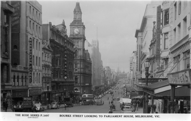 Bourke Street circa 1920-1950 by Rose Stereograph. Image courtesy of State Library Victoria