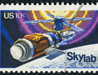 Richmond, Virginia, USA - November 28th, 2012:  Cancelled Stamp From The United States Featuring Skylab Space Station.